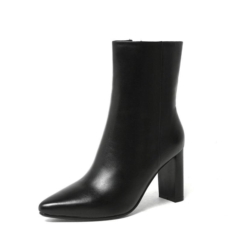 Black Fur Not Neue 2018 Stiefel black Heels Fur High Leder Waden Frauen Mittlere Echtem Winter Fur beige Spitz Der With Memunia Aus 1U6qww