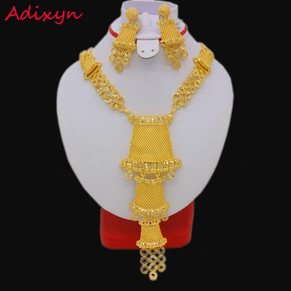 60 cm/23.6 inch 목걸이/귀걸이 여성을위한 아름다운 보석 세트 골드 컬러 아랍/에티오피아 보석 럭셔리 결혼 선물-에서신부 쥬얼리 세트부터 쥬얼리 및 액세서리 의  그룹 1