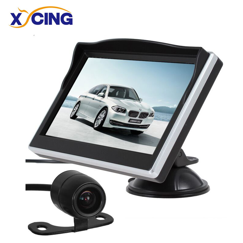 XYCING 5 Inch TFT LCD HD Layar Monitor Mobil Rear View Monitor + 18mm Warna Mobil Reverse Rear View Camera Cadangan