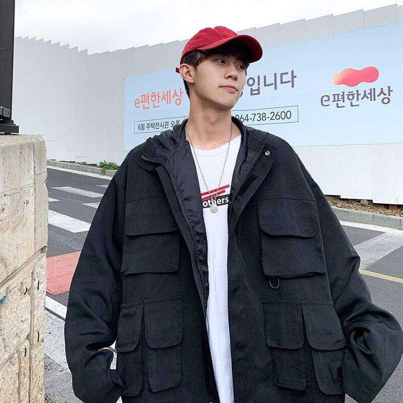 2019 printemps nouveau Han Fan japonais européen et américain outillage multi-poche lâche couleur unie à manches longues mince à capuche veste