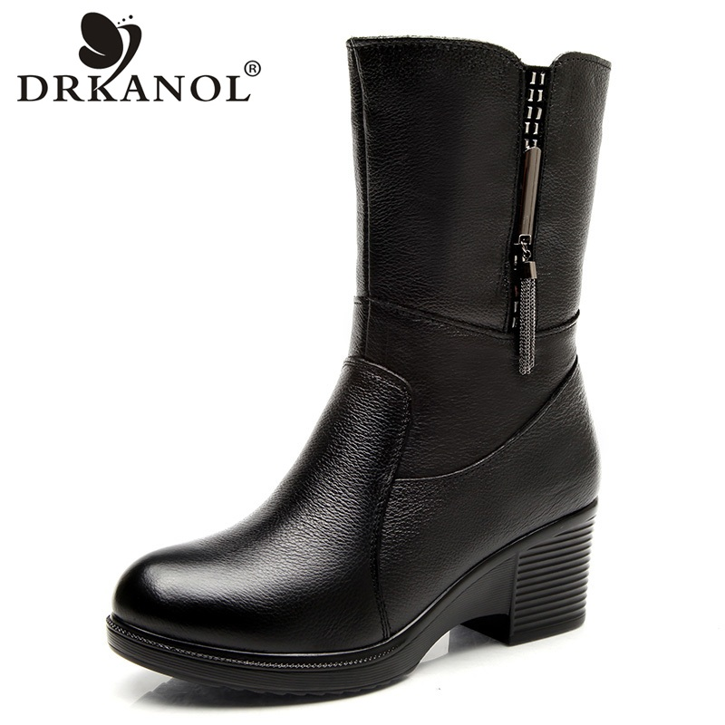 DRKANOL Genuine Leather Wedge High Heel Women Snow Boots Mid Calf Winter Plush Warm Boots Women Waterproof Boots Shoes H5528 2017 black women boots sheepskin winter warm plush female boots mid calf genuine leather women shoes