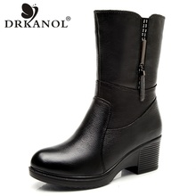 DRKANOL Genuine Leather Wedge High Heel Women Snow Boots Mid Calf Winter Plush Warm Boots Women Waterproof Boots Shoes H5528 meotina genuine leather mid calf boots winter snow boots women real fur warm boots chain platform wedges high heel shoes black