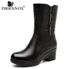 Warm Boots DRKANOL Shoes Wedge High-Heel Winter Genuine-Leather Women Plush Mid-Calf