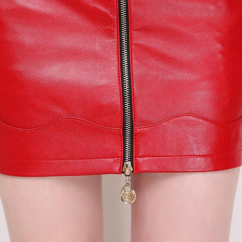 Femmes Bouton Taille Grande De Falda black A Mouton Skin Couleur Jupes Multi Mode Véritable Saia Peau Office ligne Zipper Suede Light En Lady Pour red Cuir Black Nouvelle qxPwWRaTt