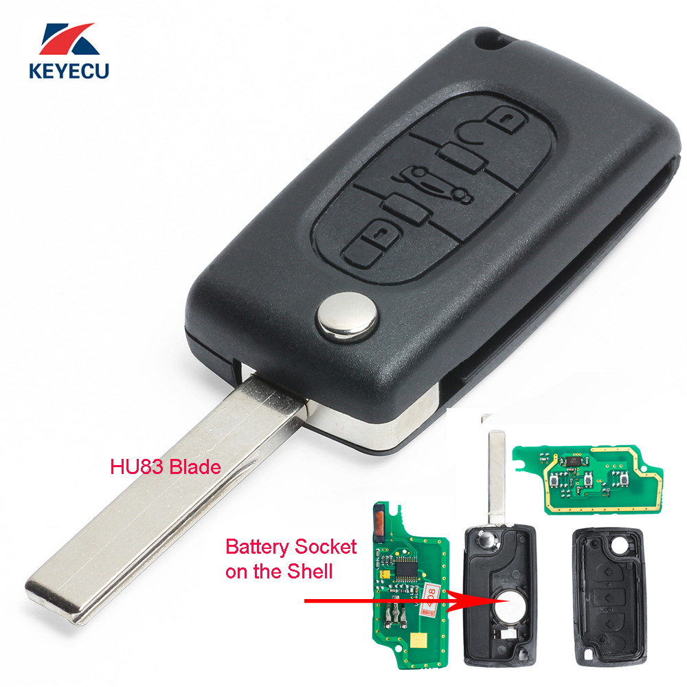 KEYECU New Keyless Entry Folding Remote Key Fob 3 Button for <font><b>Peugeot</b></font> 307 433MHz ID46 Chip <font><b>0536</b></font> Models Up to 20110416 image