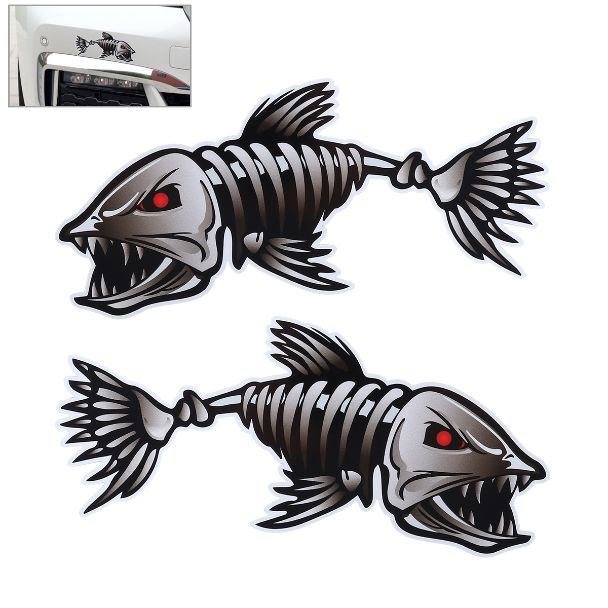 "Pair 12/"" Large Mouth Bass Fish Sticker Fishing Boat Car Vehicle Window Decal"