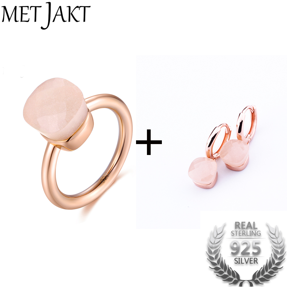MetJakt Natural Pink Agate Earring Ring Sets Solid 925 Sterling Silver Rings with Rose Gold Plated