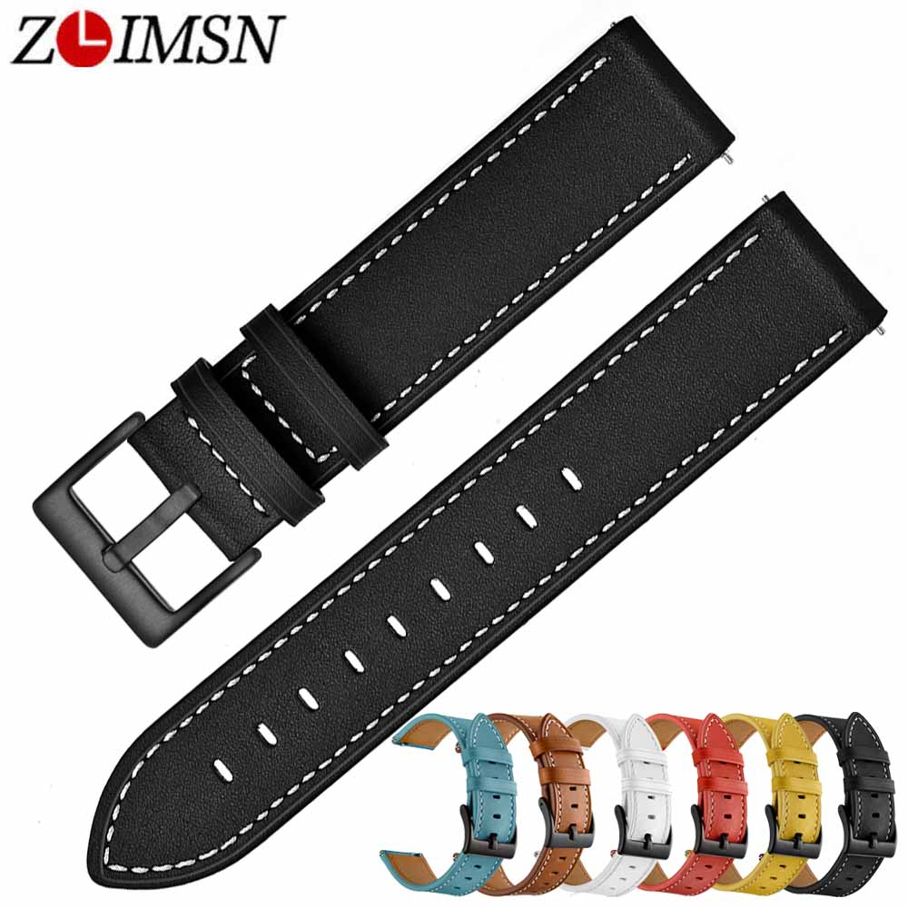 ZLIMSN New Cow Leather Watch Band 6 colors optional Men 39 s Women watch strap 22mm Applicable for Universal series Watches strap in Watchbands from Watches