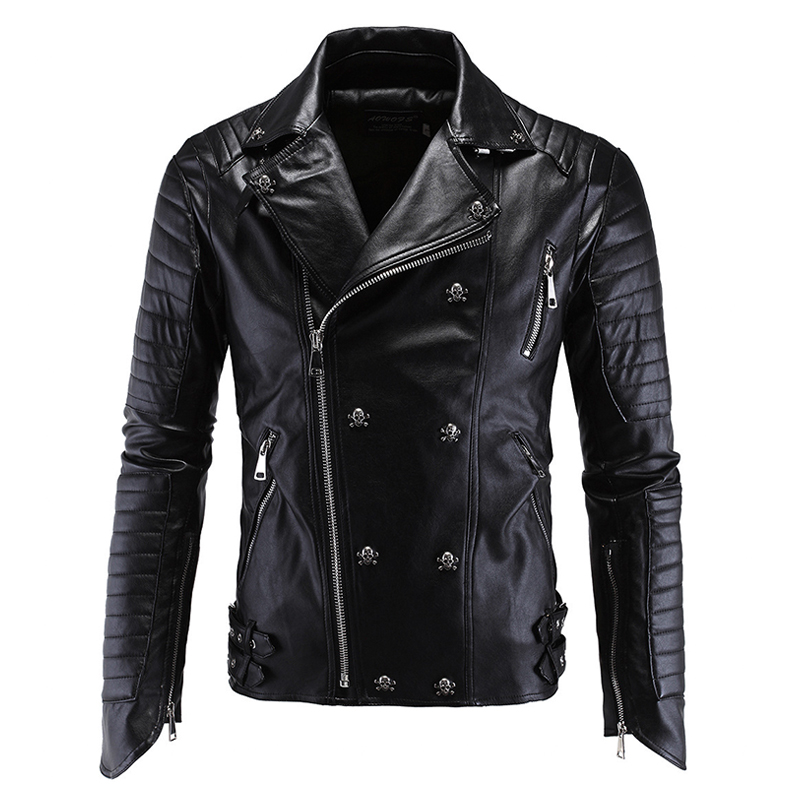 2017 Men's Leather jacket Men coat Motor Black New Fashion Style High Quality Clothing mens leather Outwear mz320