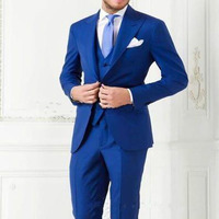 2017 Custom Made Royal Blue Men Suit Peaked Lapel Wedding Suits for men Slim Fit 3 Piece mens Tuxedos Groomsman Bridegroom Suits