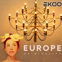 EKOO Chandelier Gino Sarfatti Lamp Lights Lighting 18/ 30/ 50 Lights for Hotel Lobby living room