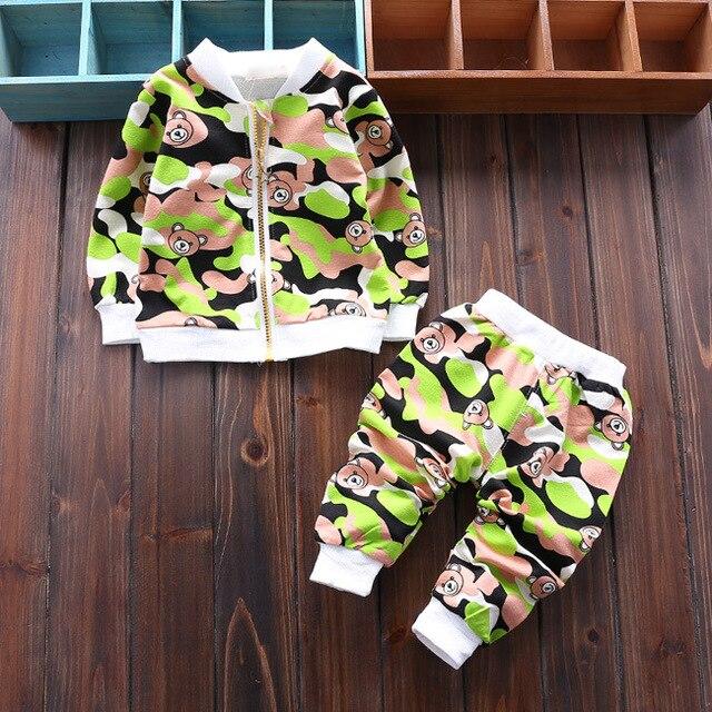 New 2016 autumn Newborn Suits Baby Girls Boys bear clothing sets Fashion Sports Kids coat +pants 2pcs Suit Children Clothes