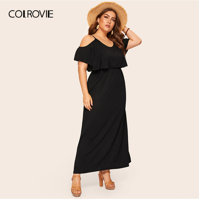 COLROVIE Plus Size Cold Shoulder Solid Maxi Dress Women 2019 Summer Casual Short Sleeve High Waist Elegant Office Ladies Dresses 2