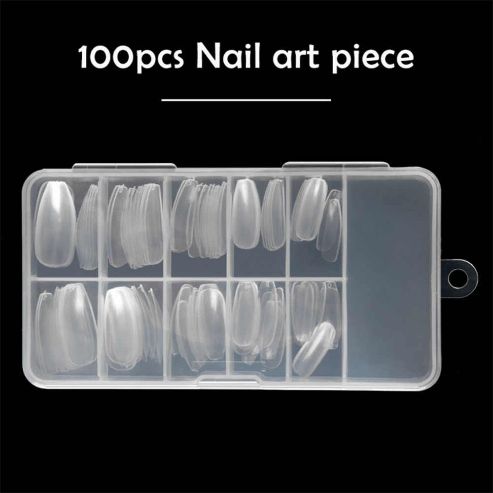100Pcs Long Coffin Shape Full Cover False Fake Nails Art Tip DIY Acrylic UV Gel  Nail Art Glue Cutter Tool Se best selling 2018