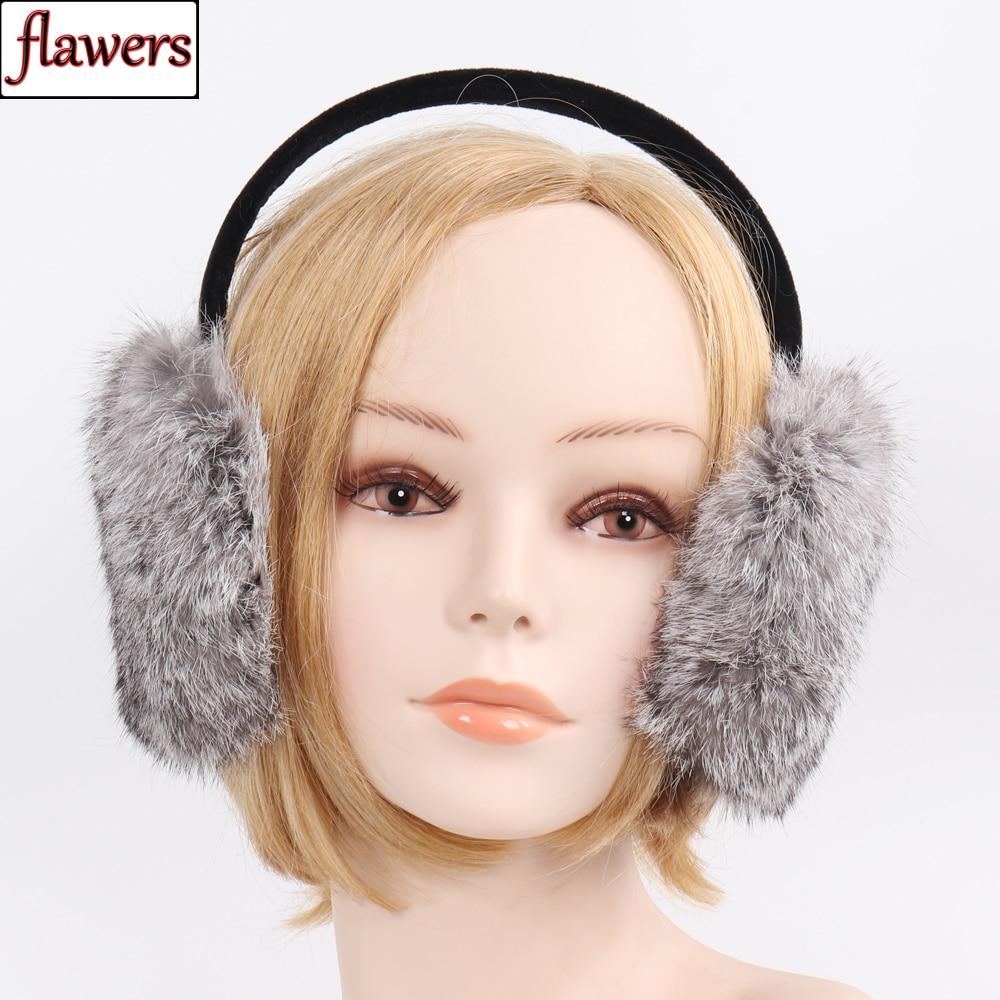 2019 Brand Women Winter 100% Natural Rabbit Fur Earmuffs Winter Warm Rabbit Fur Ear Muffs Thermal Lady Fluffy Rabbit Fur Earflap
