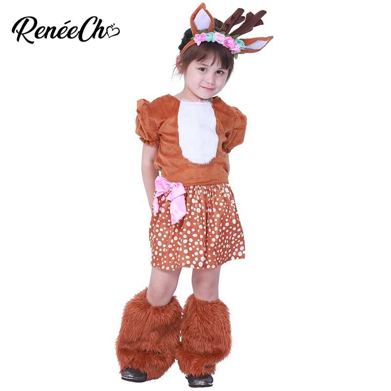 Christmas Fancy Dress Kids.Us 25 99 35 Off Reneecho Animal Cosplay Girls Reindeer Fur Halloween Costume For Kids Children Carnival Party Christmas Fancy Dress Doe Deer In
