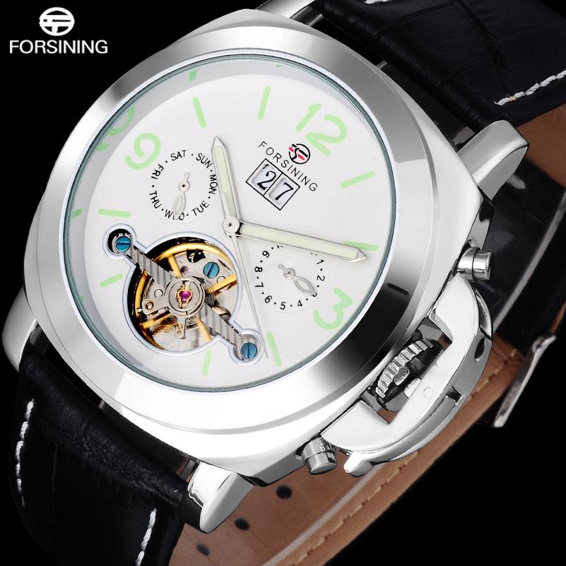 c186327a9e5 2017 FORSINING luxo marca homens relógios desportivos branco prata  turbilhão Mecânico automático relógios de pulso pulseira de couro genuíno