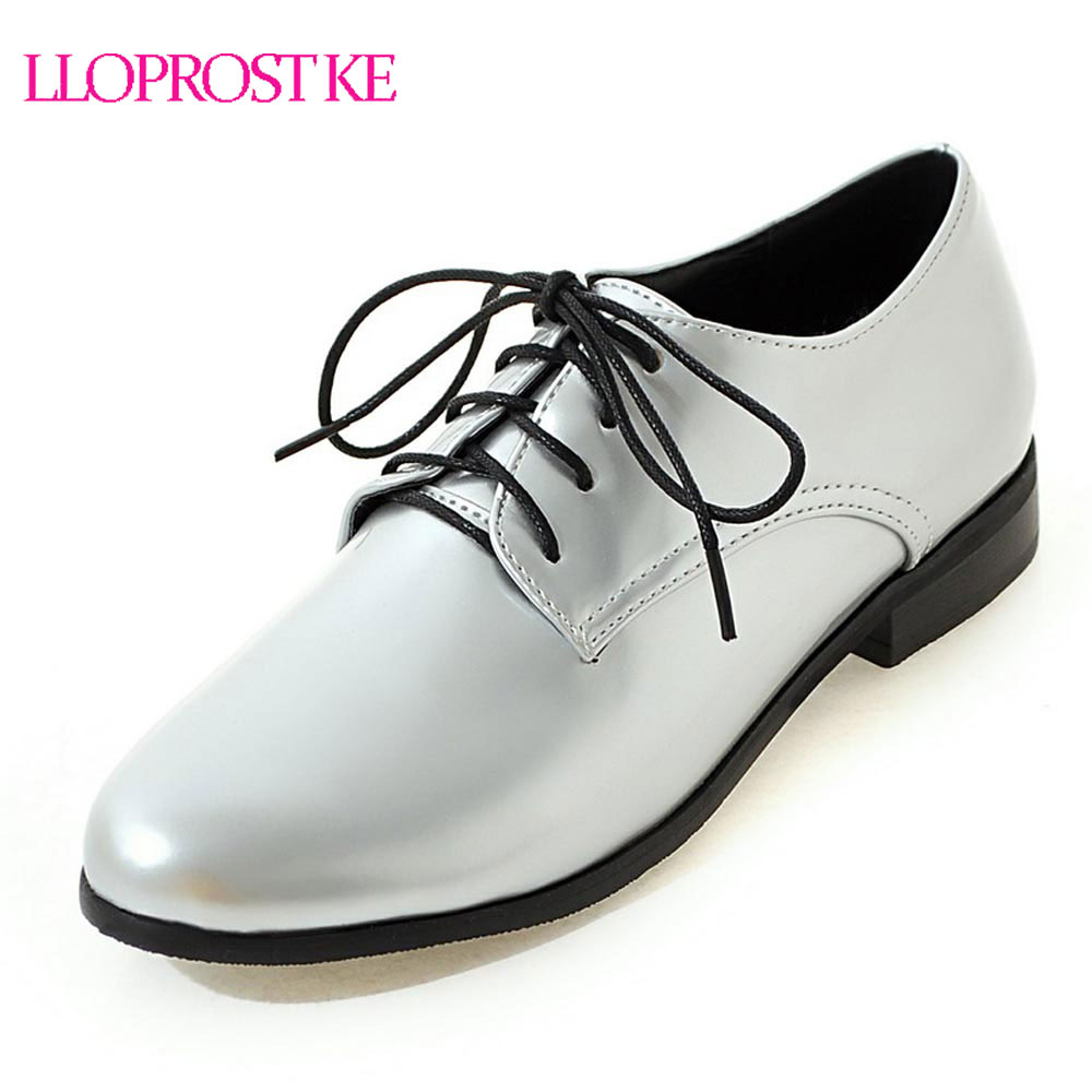 Lloprost ke Autumn Women Flats Lace up Flat Casual Shoes Woman Basic silver black Flat oxford shoes for women size 30 50 MY916