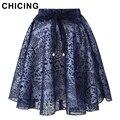 Chicing lazos jacquard flocado midi faldas para mujer 2016 de verano imperio bow vestido de bola plisado elegante de organza y tul saia a1605028