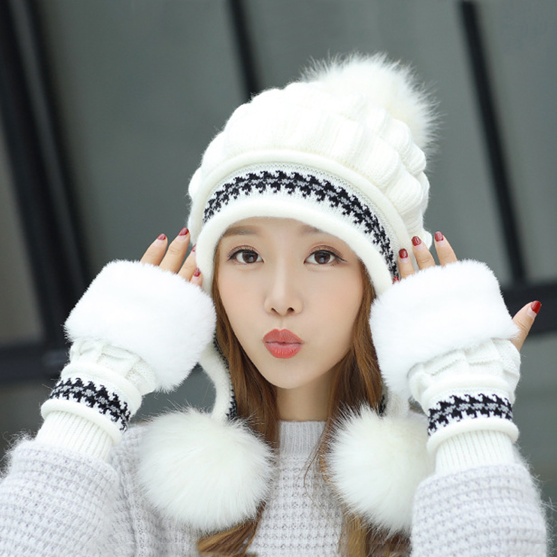 Women Hat Winter Sets Caps Hat+Gloves 2pcs Female Thick Warm Earflap Ski Pompom Hats Beanies With Fur Gloves Women Accessorie