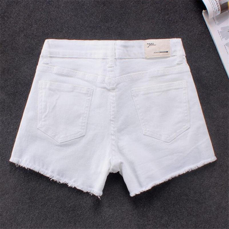 2019 Summer Women Vintage High Waist White Denim Shorts Fashion Slim Casual Femme Short Jeans Mujer S-2XL r1132