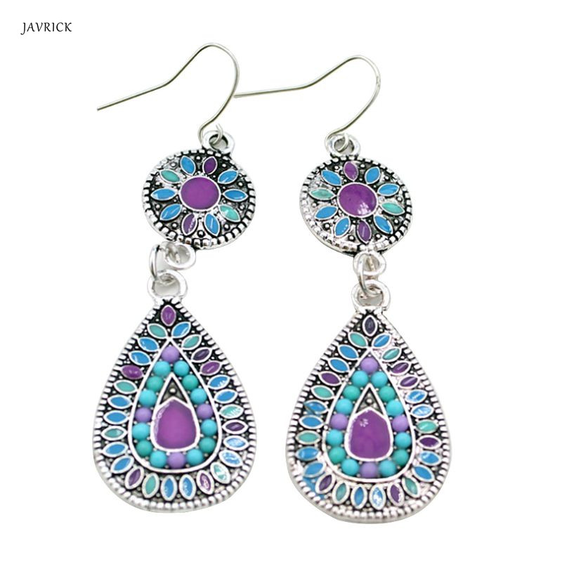 Bohemian Style Earrings Rhinestone Retro Ethnic Fashion Antique Danglers Jewelry