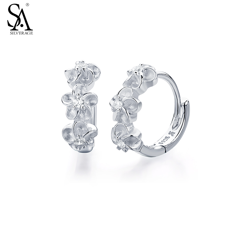 SA SILVERAGE Genuine 925 Sterling Silver Fine Jewelry Three Flower Hoop Earrings For Women Girl 2017