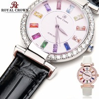 Prong Setting Luxury Clock Lady Women's Watch Fashion Hours Bracelet Colorful Rhinestone Girl Birthday Gift Royal Crown Box