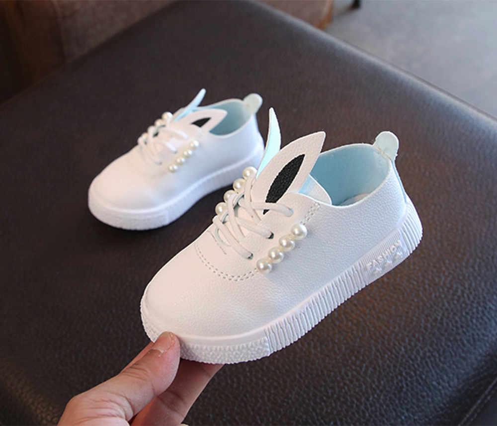Zapatos de chico para niñas zapatos de moda casuales suaves antideslizantes para niñas dibujos animados lindos conejo perlas zapatos individuales