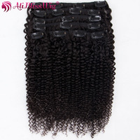 AliBlissWig Kinky Curly Clip In Hair Extensions 8pcs/set Brazilian Virgin Hair 14 24 Inch Full Head Natural Color