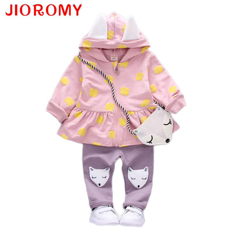 JIOROMY Baby Girl Clothes Toddler Children's Sets 2017 Fashion Flower Print Cute Fox Bag Girls Clothing Girls Clothes Kids Sets