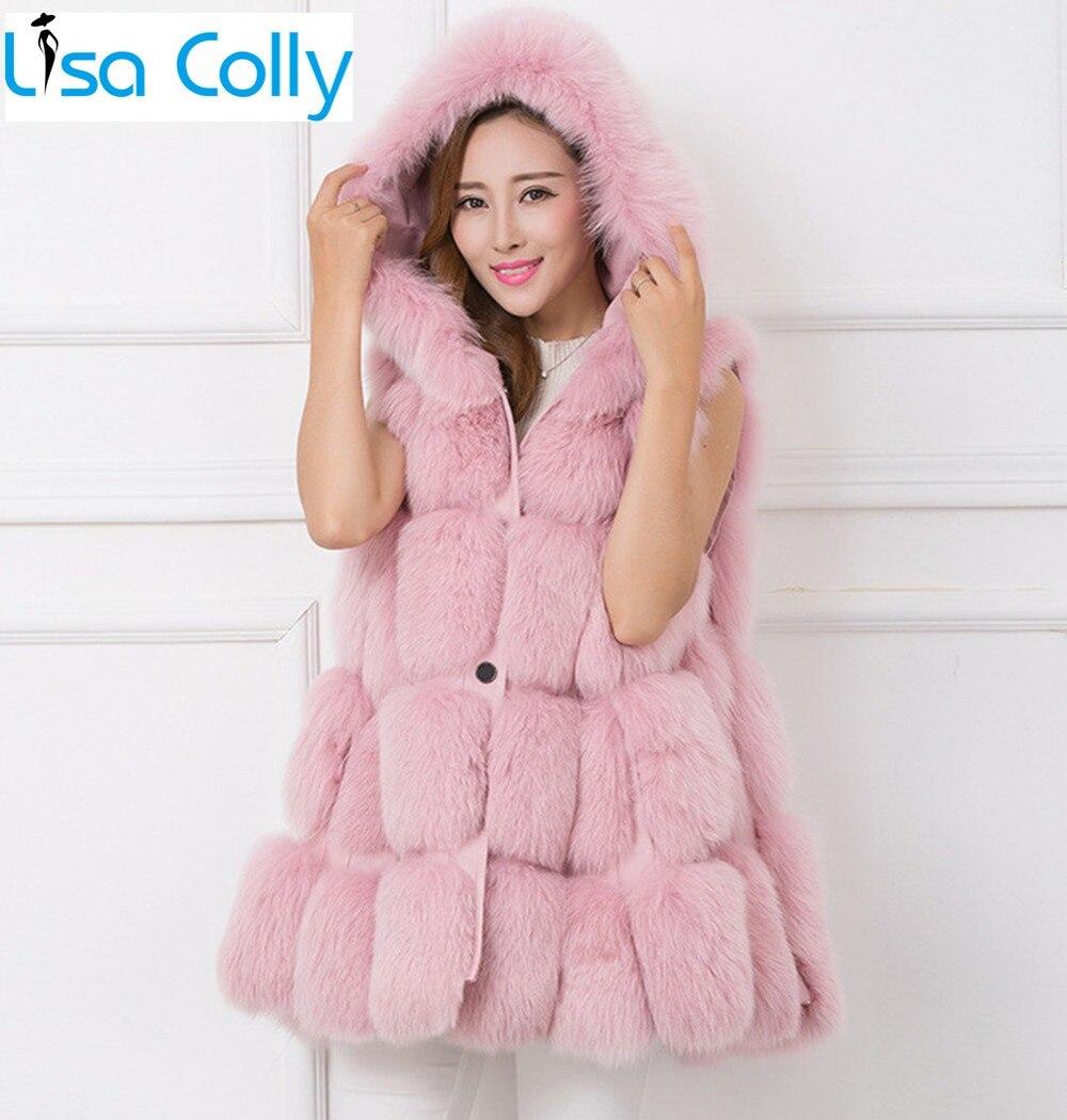 Lisa Colly Moda Feminina Grosso colete de pele Casaco de imitação de pele de raposa casaco colete Zip com capuz mulheres brasão faux fur vest longo Falso colete De Pele