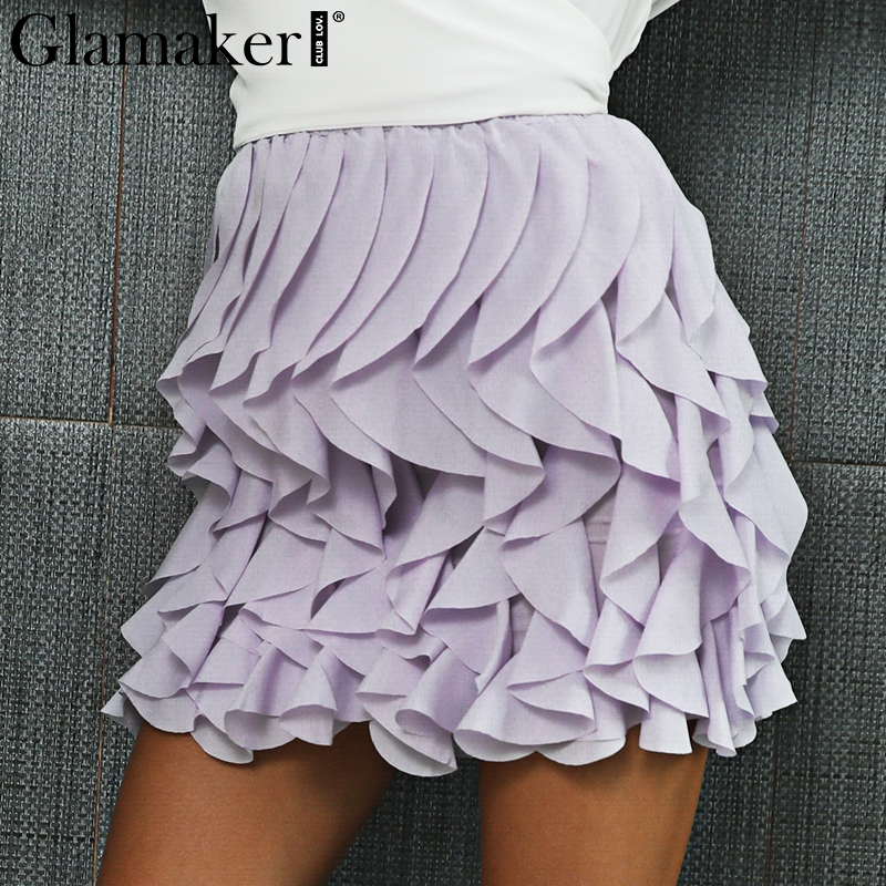 Glamaker Ruffle pleated mini skirt Casual sexy skirt autumn winter High waist fashion lolita short skirt