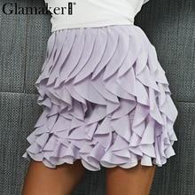 Glamaker плиссированная сборками мини-юбка Повседневное сексуальные юбки на осень-зиму Высокая талия Мода Лолита Короткая юбка для вечеринки