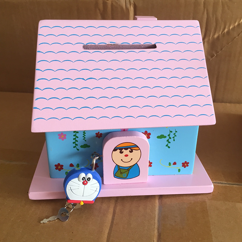 Baby Educational Toys Infant The Piggy Bank Cartoon Coins Saving House Lock Wooden Toys Child Birthday