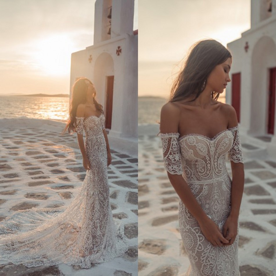 Beach Mermaid Wedding Dress 2019 Bohemian Style Lace Sweep Train Sexy Bridal Gowns Sweetheart Neck Illusion Vestido De Novia