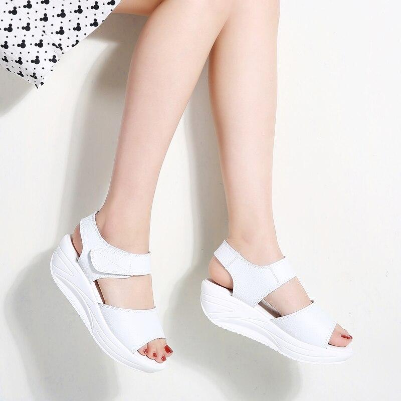 Plataforma Para 9018 Sandalias Blancas De Verano Gladiador Mujer P0Ok8nw