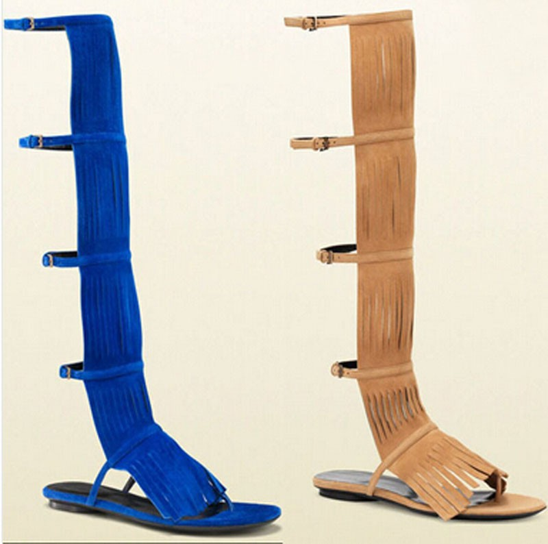 New design suede fringed knee high gladiator sandal boots for woman cut-outs ankle buckle sandals free ship new arrival knee high boots cross strap cut outs gladiator sandal boots suede open toe lace up sandals summer women flat shoes