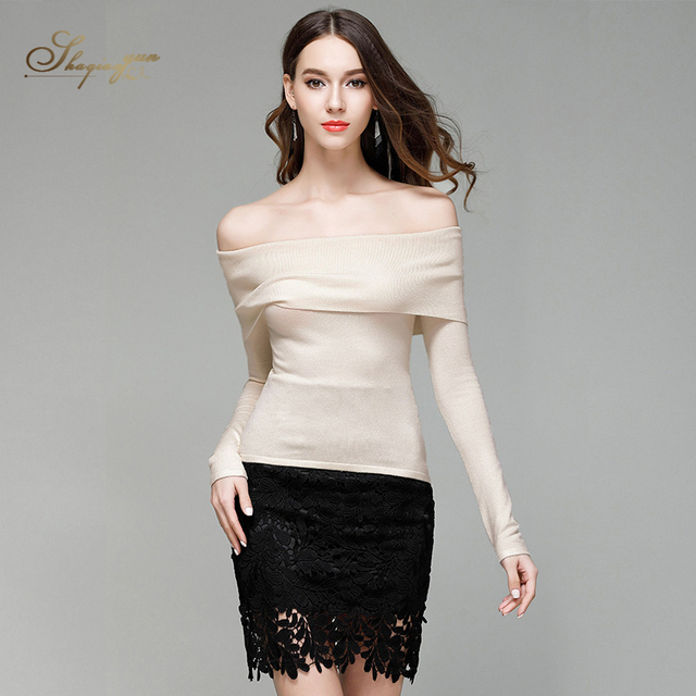 Spring and Summer New Women Sweater Slash Neck Shoulderless Thin Section Fashion  Sweater Sexy Pullover Sweaters c635875b0