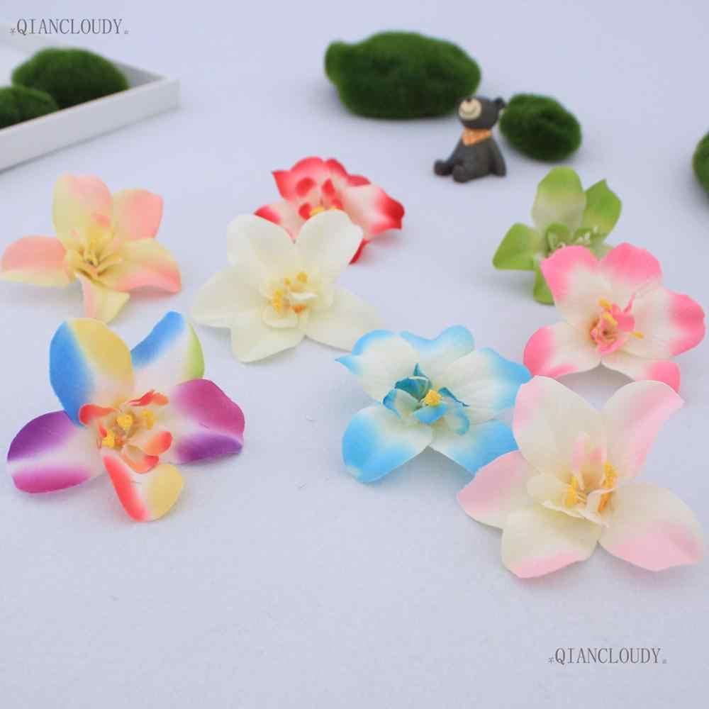 1 قطع الاصطناعي Cymbidium بساتين الفاكهة الحرير الزهور رؤساء الزفاف DIY اكليلا القصاصات هدية مربع الديكور C10