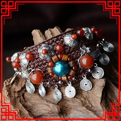 Handmade braided stone bracelet,New luxury Ethnic Thailand Miao silver bracelet,fashion luxury vintage glazed glass bracelet ,