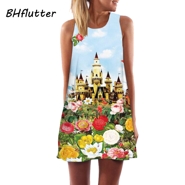 BHflutter Women Dress New 2018 Summer Style Short Dress Floral Print Casual Woman Chiffon Dresses Boho Beach Dresses Vestidos 5