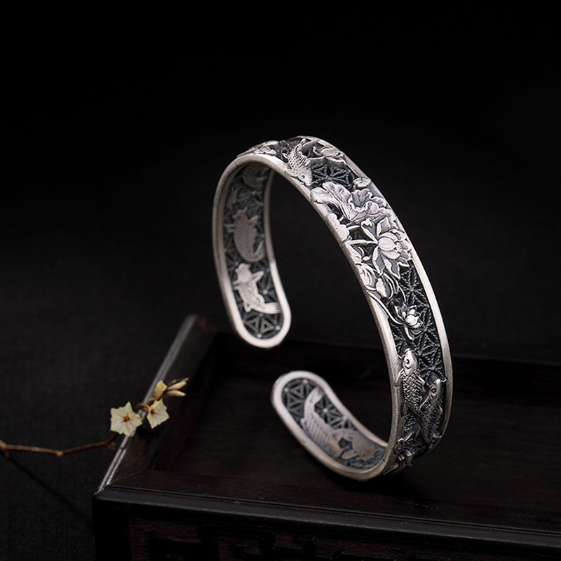 Real Pure 999 Sterling Silver Bangles Carved Fish and Lotus Hollow Design Cuff Bracelets for Women Luxury Jewelry