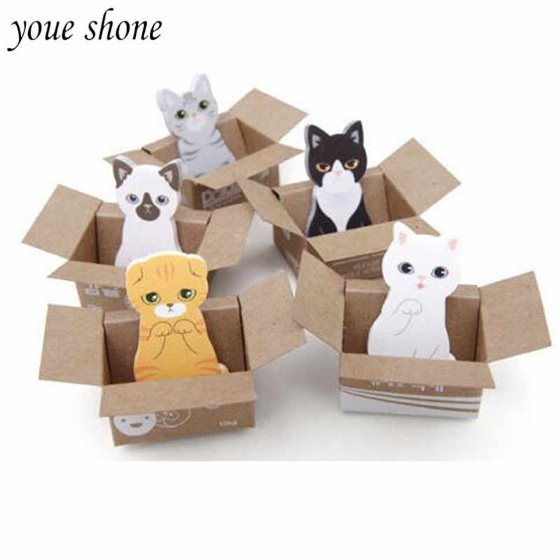 1 pièces kawaii chat bloc-notes papier bloc-notes dessin animé mignon Carton chat chien blocs-notes compacts note collante coréen papeterie YOUE SHONE