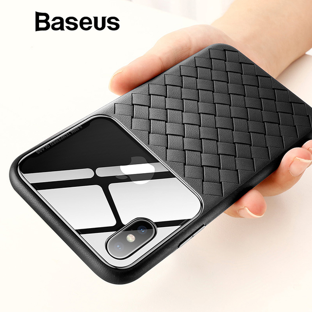 hot sales a9c12 1e520 US $5.99 40% OFF|Baseus Transparent Breathable Case for iPhone Xs Xs Max XR  Glass with TPU Weaving Back Cover for iPhone Xs Max Fundas Capa-in Fitted  ...