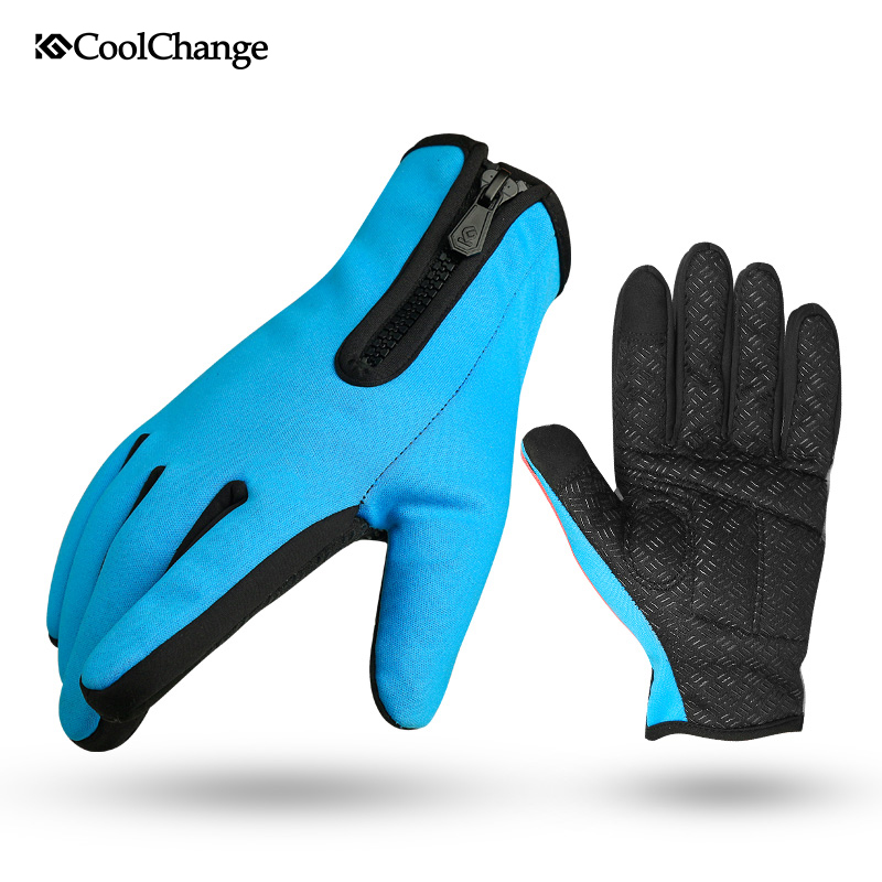CoolChange Men Women Winter Windproof Warm Cycling Full Finger Gloves Outdoor Sports MTB Bike Bicycle Skiing Touch Screen Gloves