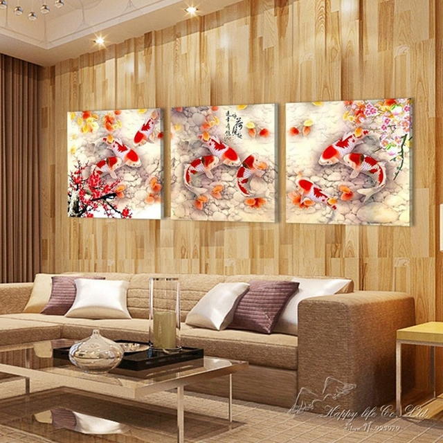 Home Decoration 3 Pieces No Frame Picture Canvas Prints Fish Lotus Plum Porcelain Vase Peony Flower Bamboo Chinese Characters