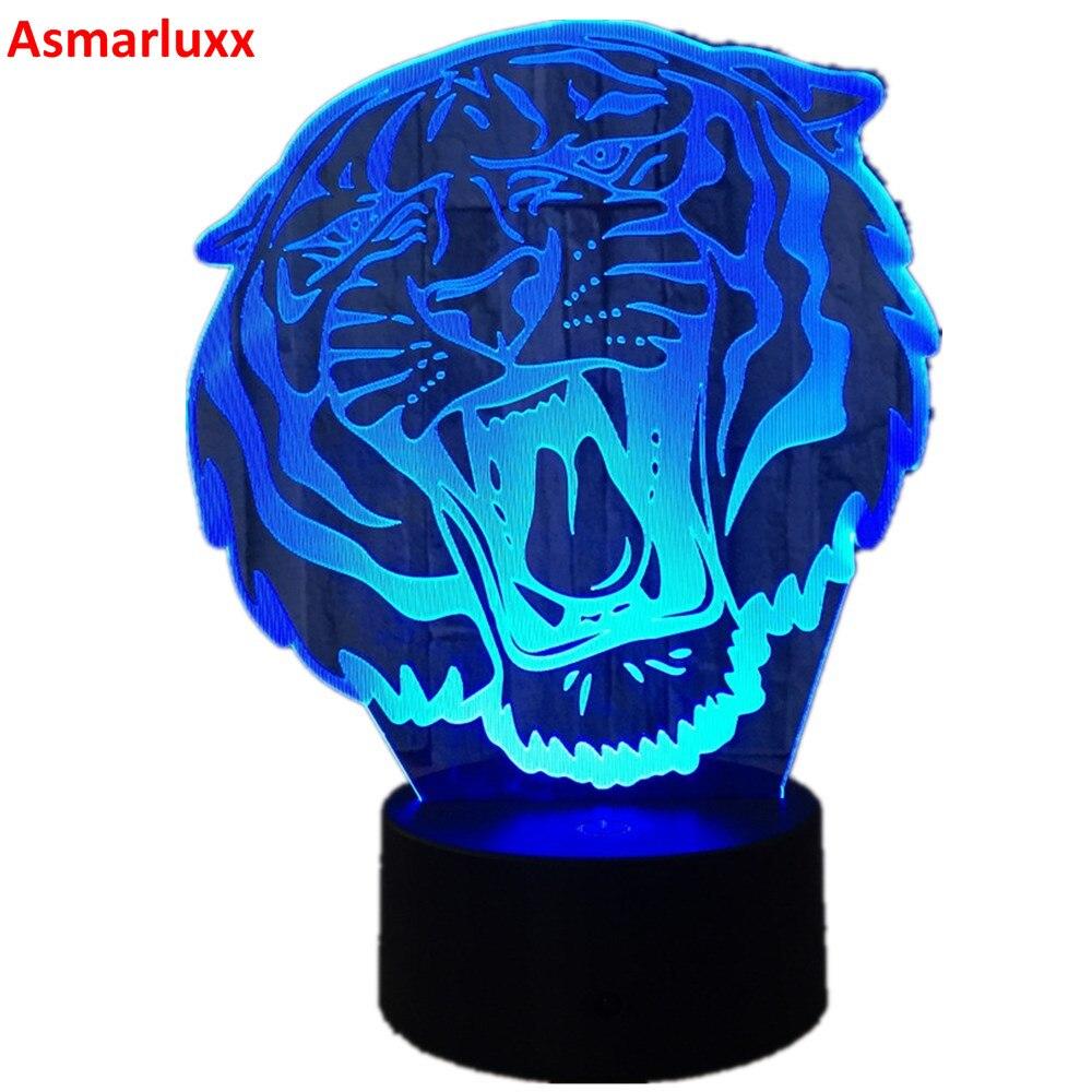 Tygrys 3D wizualne Lampa iluzoryczna przezroczyste akrylowe światło nocne LED Lampa zmiana koloru stół dotykowy Bulbing Lampa projektora Deco
