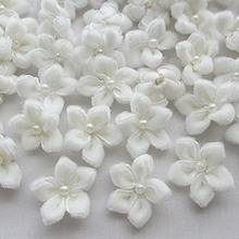 20 pçs 25mm cor branca u escolher fita de veludo flor bauhinia com apliques pérola casamento
