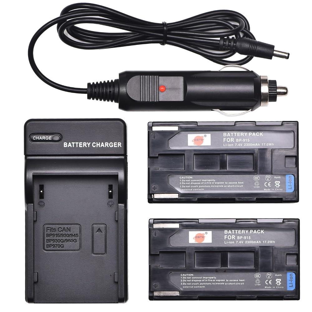DSTE 2 PCS BP-915 Akku + Reise und Auto Ladegerät für Canon ES300V ES410V ES4000 ES520V ES75 ES8600 XH a1 Kamera